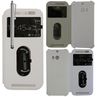 HTC One (M8)/ One M8s/ Dual Sim/ (M8) Eye/ M8 For Windows/ HTC Butterfly 2: Accessoire Coque Etui Housse Pochette Plastique View Case + Stylet - BLANC