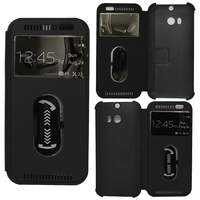 HTC One (M8)/ One M8s/ Dual Sim/ (M8) Eye/ M8 For Windows/ HTC Butterfly 2: Accessoire Coque Etui Housse Pochette Plastique View Case - NOIR