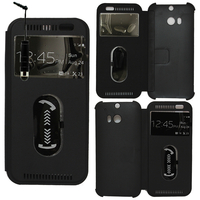 HTC One (M8)/ One M8s/ Dual Sim/ (M8) Eye/ M8 For Windows/ HTC Butterfly 2: Accessoire Coque Etui Housse Pochette Plastique View Case + mini Stylet - NOIR