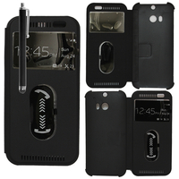 HTC One (M8)/ One M8s/ Dual Sim/ (M8) Eye/ M8 For Windows/ HTC Butterfly 2: Accessoire Coque Etui Housse Pochette Plastique View Case + Stylet - NOIR