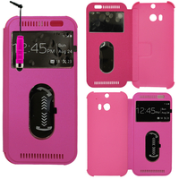 HTC One (M8)/ One M8s/ Dual Sim/ (M8) Eye/ M8 For Windows/ HTC Butterfly 2: Accessoire Coque Etui Housse Pochette Plastique View Case + mini Stylet - ROSE