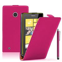 Nokia Lumia 530/ 530 Dual Sim: Accessoire Housse coque etui cuir fine slim + Stylet - ROSE