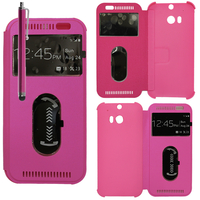 HTC One (M8)/ One M8s/ Dual Sim/ (M8) Eye/ M8 For Windows/ HTC Butterfly 2: Accessoire Coque Etui Housse Pochette Plastique View Case + Stylet - ROSE
