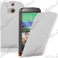 HTC One (M8)/ One M8s/ Dual Sim/ (M8) Eye/ M8 For Windows/ HTC Butterfly 2: Accessoire Housse coque etui cuir fine slim - BLANC