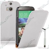 HTC One (M8)/ One M8s/ Dual Sim/ (M8) Eye/ M8 For Windows/ HTC Butterfly 2: Accessoire Housse coque etui cuir fine slim + mini Stylet - BLANC