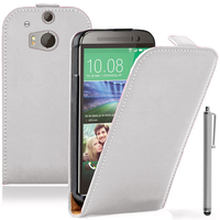 HTC One (M8)/ One M8s/ Dual Sim/ (M8) Eye/ M8 For Windows/ HTC Butterfly 2: Accessoire Housse coque etui cuir fine slim + Stylet - BLANC