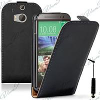 HTC One (M8)/ One M8s/ Dual Sim/ (M8) Eye/ M8 For Windows/ HTC Butterfly 2: Accessoire Housse coque etui cuir fine slim + mini Stylet - NOIR