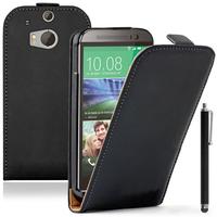 HTC One (M8)/ One M8s/ Dual Sim/ (M8) Eye/ M8 For Windows/ HTC Butterfly 2: Accessoire Housse coque etui cuir fine slim + Stylet - NOIR