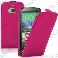 HTC One (M8)/ One M8s/ Dual Sim/ (M8) Eye/ M8 For Windows/ HTC Butterfly 2: Accessoire Housse coque etui cuir fine slim - ROSE