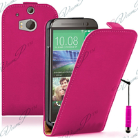 HTC One (M8)/ One M8s/ Dual Sim/ (M8) Eye/ M8 For Windows/ HTC Butterfly 2: Accessoire Housse coque etui cuir fine slim + mini Stylet - ROSE