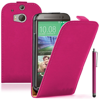 HTC One (M8)/ One M8s/ Dual Sim/ (M8) Eye/ M8 For Windows/ HTC Butterfly 2: Accessoire Housse coque etui cuir fine slim + Stylet - ROSE