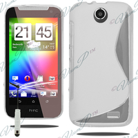 HTC Desire 310: Accessoire Housse Etui Pochette Coque S silicone gel + mini Stylet - BLANC