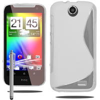 HTC Desire 310: Accessoire Housse Etui Pochette Coque S silicone gel + Stylet - BLANC