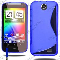 HTC Desire 310: Accessoire Housse Etui Pochette Coque S silicone gel + mini Stylet - BLEU