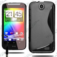 HTC Desire 310: Accessoire Housse Etui Pochette Coque S silicone gel + mini Stylet - NOIR