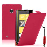 Nokia Lumia 530/ 530 Dual Sim: Accessoire Housse coque etui cuir fine slim + mini Stylet - ROUGE