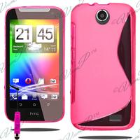 HTC Desire 310: Accessoire Housse Etui Pochette Coque S silicone gel + mini Stylet - ROSE