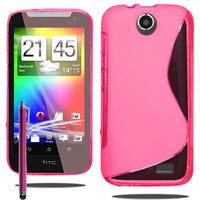 HTC Desire 310: Accessoire Housse Etui Pochette Coque S silicone gel + Stylet - ROSE