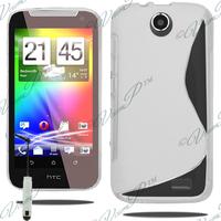 HTC Desire 310: Accessoire Housse Etui Pochette Coque S silicone gel + mini Stylet - TRANSPARENT