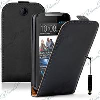 HTC Desire 310: Accessoire Housse coque etui cuir fine slim + mini Stylet - NOIR