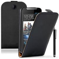 HTC Desire 310: Accessoire Housse coque etui cuir fine slim + Stylet - NOIR