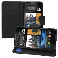 HTC Desire 516 dual sim: Accessoire Etui portefeuille Livre Housse Coque Pochette support vidéo cuir PU effet tissu - NOIR