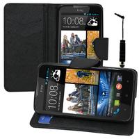HTC Desire 516 dual sim: Accessoire Etui portefeuille Livre Housse Coque Pochette support vidéo cuir PU effet tissu + mini Stylet - NOIR