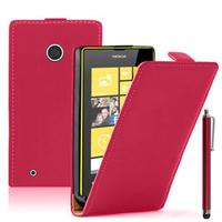 Nokia Lumia 530/ 530 Dual Sim: Accessoire Housse coque etui cuir fine slim + Stylet - ROUGE