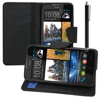 HTC Desire 516 dual sim: Accessoire Etui portefeuille Livre Housse Coque Pochette support vidéo cuir PU effet tissu + Stylet - NOIR