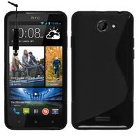 HTC Desire 516 dual sim: Accessoire Housse Etui Pochette Coque S silicone gel + mini Stylet - NOIR