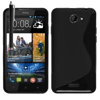 HTC Desire 516 dual sim: Accessoire Housse Etui Pochette Coque S silicone gel + Stylet - NOIR