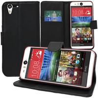 HTC Desire Eye: Accessoire Etui portefeuille Livre Housse Coque Pochette support vidéo cuir PU - NOIR