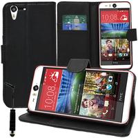 HTC Desire Eye: Accessoire Etui portefeuille Livre Housse Coque Pochette support vidéo cuir PU + mini Stylet - NOIR