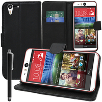 HTC Desire Eye: Accessoire Etui portefeuille Livre Housse Coque Pochette support vidéo cuir PU + Stylet - NOIR