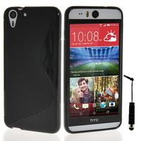 HTC Desire Eye: Accessoire Housse Etui Pochette Coque S silicone gel + mini Stylet - NOIR