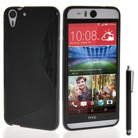HTC Desire Eye: Accessoire Housse Etui Pochette Coque S silicone gel + Stylet - NOIR