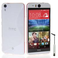 HTC Desire Eye: Accessoire Housse Etui Pochette Coque S silicone gel + mini Stylet - TRANSPARENT
