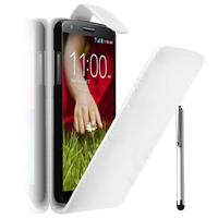 LG G2 Mini LTE Dual Sim D618 D620 D620R D620K: Accessoire Etui Housse Coque Pochette simili cuir + Stylet - BLANC