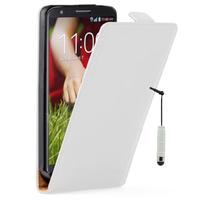 LG G2 Mini LTE Dual Sim D618 D620 D620R D620K: Accessoire Housse coque etui cuir fine slim + mini Stylet - BLANC