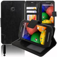 Motorola Moto E XT1021/ Dual Sim XT1022 XT1025: Accessoire Etui portefeuille Livre Housse Coque Pochette support vidéo cuir PU + mini Stylet - NOIR
