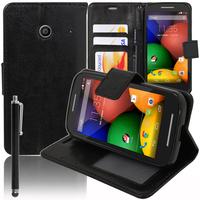 Motorola Moto E XT1021/ Dual Sim XT1022 XT1025: Accessoire Etui portefeuille Livre Housse Coque Pochette support vidéo cuir PU + Stylet - NOIR
