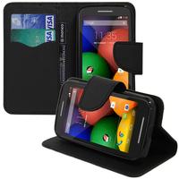 Motorola Moto E XT1021/ Dual Sim XT1022 XT1025: Accessoire Etui portefeuille Livre Housse Coque Pochette support vidéo cuir PU effet tissu - NOIR