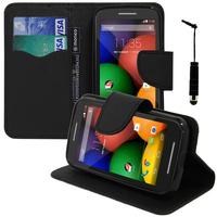 Motorola Moto E XT1021/ Dual Sim XT1022 XT1025: Accessoire Etui portefeuille Livre Housse Coque Pochette support vidéo cuir PU effet tissu + mini Stylet - NOIR