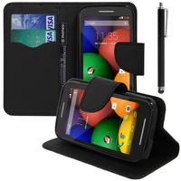 Motorola Moto E XT1021/ Dual Sim XT1022 XT1025: Accessoire Etui portefeuille Livre Housse Coque Pochette support vidéo cuir PU effet tissu + Stylet - NOIR