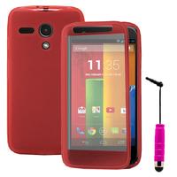 Motorola Moto G X1032/ Forte/ Grip Shell/ LTE 4G: Accessoire Coque Etui Housse Pochette silicone gel Portefeuille Livre rabat + mini Stylet - ROSE