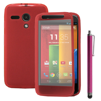 Motorola Moto G X1032/ Forte/ Grip Shell/ LTE 4G: Accessoire Coque Etui Housse Pochette silicone gel Portefeuille Livre rabat + Stylet - ROSE