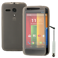Motorola Moto G X1032/ Forte/ Grip Shell/ LTE 4G: Accessoire Coque Etui Housse Pochette silicone gel Portefeuille Livre rabat + mini Stylet - TRANSPARENT