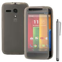 Motorola Moto G X1032/ Forte/ Grip Shell/ LTE 4G: Accessoire Coque Etui Housse Pochette silicone gel Portefeuille Livre rabat + Stylet - TRANSPARENT