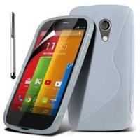 Motorola Moto G X1032/ Forte/ Grip Shell/ LTE 4G: Accessoire Housse Etui Pochette Coque S silicone gel + Stylet - BLANC