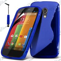 Motorola Moto G X1032/ Forte/ Grip Shell/ LTE 4G: Accessoire Housse Etui Pochette Coque S silicone gel + mini Stylet - BLEU